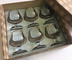 Caja de 6 copas de coñac años 60 Napoleón cognac Vintage