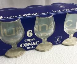 Caja de 6 copas de coñac años 70/80 Luminarc 10 cl cognac Vintage
