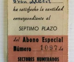 Abono especial Valencia Club de Fútbol Nº1097 años 50