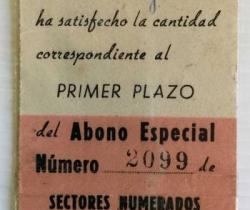 Abono especial Valencia Club de Fútbol Nº2099 de 1953