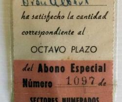 Abono especial Valencia Club de Fútbol Nº1097 de 1955