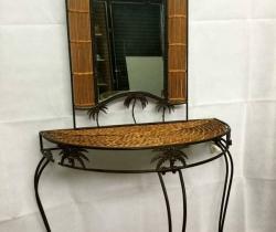 Mueble recibidor forja y mimbre con espejo y paragüero