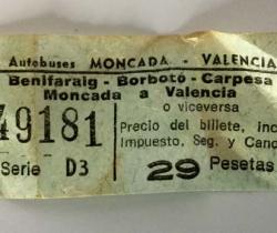 Billete autobús Moncada – Valencia. Nebot Ortega – Serie D3 – Años 60