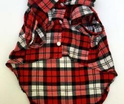 Camisa de cuadros roja para perro talla XL
