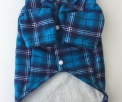 Camisa para perro a cuadros azul de invierno Talla L
