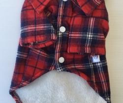 Camisa para perro a cuadros color rojo talla M