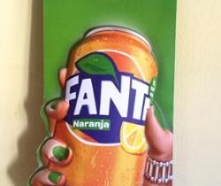 Cartel publicitario 78cm Fanta Naranja y Fanta Limón en relieve.