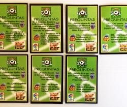 Lote 7 tarjetas Preguntas y Respuestas – Champion Gol – Bony y Tigretón