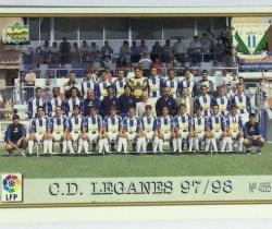 Ficha plantilla y escudo C.D. Leganés 455 Mundicromo Las Fichas de la Liga 1997 / 1998