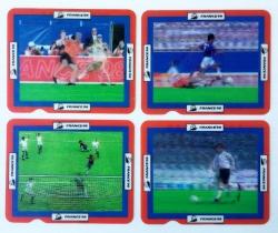 Lote 4 tarjetas en movimiento hologramas Las Estrellas del Mundial France 98 + cartón cereales