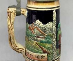 Jarra vintage de cerveza Alemana – cerámica con tapadera de estaño y caja de música