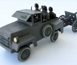 Jeep militar con cañón remolque + 5 soldaditos – años 40