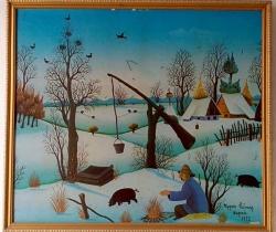 Lámina impresa por Scandecor en 1973 del pintor croata Stjepan Vecenaj Paisaje nieve
