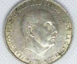 Moneda de plata de 100 ptas 1966 *19 *66 Franco Caudillo de España