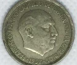 Moneda Francisco Franco Caudillo de España 5 pesetas 1957 *69