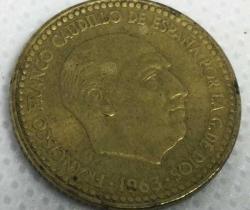 Moneda Una peseta de Francisco Franco Caudillo de España – 1963 *19