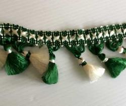 Pasamanería años 60 con borlas – Verde y blanco – 5 metros