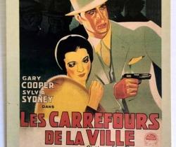 Postal de la película Les Carrefours de la Ville – Paramount – Gary Cooper – Sylvia Sydney