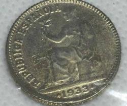 Reproducción de moneda de 1 peseta República Española 1933 – Precintada