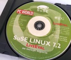 CD Muestra del Sistema operativo SuSE Linux 7.2 – LiveEval – PC World – 2001