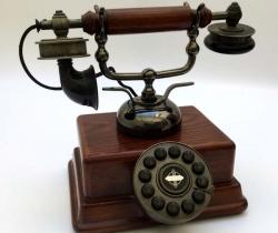 Teléfono fijo de madera diseño Vintage Retro – año 2000