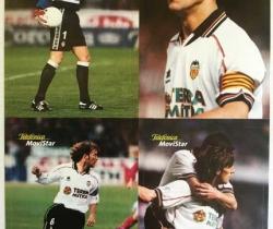 Hoja con 4 adhesivos del Valencia C.F. – Telefónica Movistar – 1999