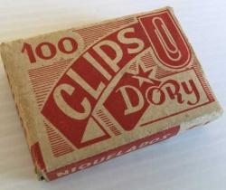 Antigua caja de 100 clips niquelados y labiados Dory Nº1
