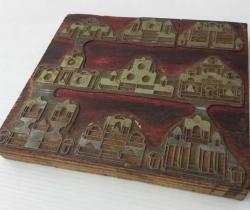 Antigua plancha de impresión plomo sobre madera para ficha de juego de arquitectura oriental de madera – Cliché imprenta