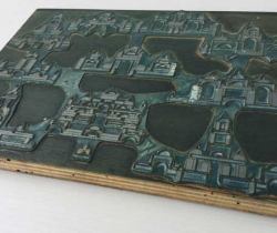 Antigua plancha impresión plomo sobre madera de ficha de juego de arquitectura oriental de madera – cian