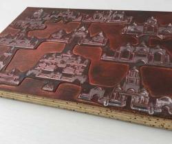 Antigua plancha impresión plomo sobre madera de ficha de juego de arquitectura oriental de madera – Magenta