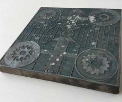 Antigua plancha de impresión plomo sobre madera juego del Parchís – Cliché imprenta