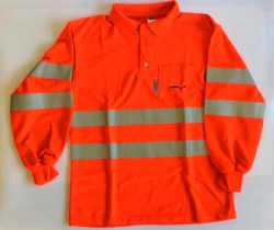 Ropa de trabajo. Polo manga larga reflectante naranja. Alta calidad. Oroel