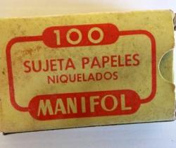 Caja de 100 sujeta papeles niquelados MANIFOL – Pequeños labiados – años 60