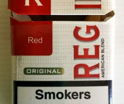 Paquete vacío de tabaco Regina cajetilla dura