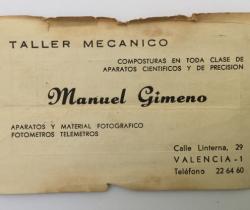 Tarjeta de visita años 60 – Manuel Gimeno – Taller Mecánico – material Fotográfico