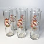 Lote 6 vasos de tubo serigrafiados del Real Madrid Club de Fútbol