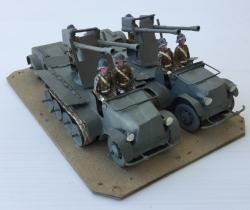 Lote 2 vehículos militares artesanales semioruga SDKFZ con remolque y 6 soldaditos de plomo años 40